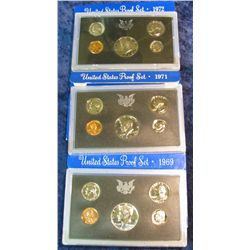 29. 1969S Silver, 71S, & 72S U.S. Proof Sets. Original as issued.