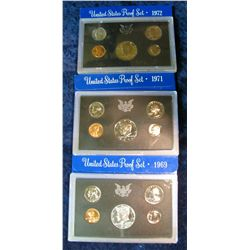 30. 1969S Silver, 71S, & 72S U.S. Proof Sets. Original as issued.