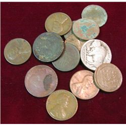 252. Small mixed group of Indian, Lincoln Cents, & Buffalo Nickels.