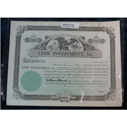 259. Linn Investment, Inc. Unissued Stock Certificate.