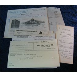 260. Group of 1900-1916 Invoices including Moline, Illinois Plow Company.
