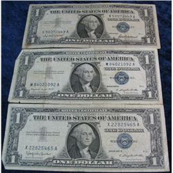 266. Series 1957, 57A, & 57B $1 Silver Certificates. G-F.