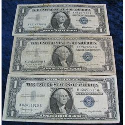 267. Series 1957, 57A, & 57B $1 Silver Certificates. G-F.