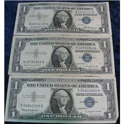 270. Series 1957, 57A, & 57B $1 Silver Certificates. G-VF.