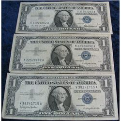 271. Series 1957, 57A, & 57B $1 Silver Certificates. G-F.