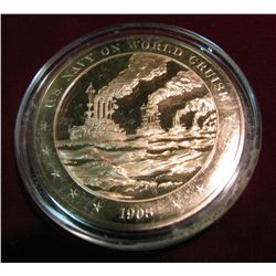 "294. 1908 Proof Bronze Medal ""U.S. Navy on World Cruise""."