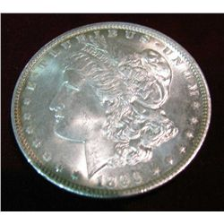 384. 1896 P Morgan Silver Dollar. Brilliant lightly toned Unc.