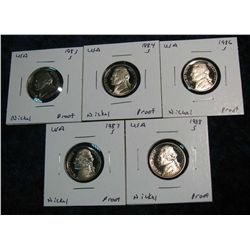 719. 1983S, 84S, 86S, 87S & 88S Jefferson Nickels. Proof.