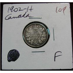 853. 1902H Canada 10-Cents. F.