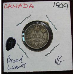 860. 1909 Canada 10-Cents. VG. Broad Leaves Variety