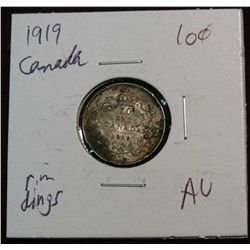 871. 1919 Canada 10-Cents. AU. Rim Dings