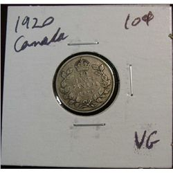 872. 1920 Canada 10-Cents. VG.