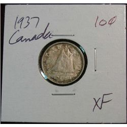 873. 1937 Canada 10-Cents. EF.
