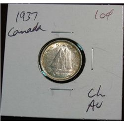 874. 1937 Canada 10-Cents. Choice AU.