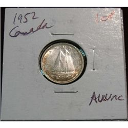 878. 1952 Canada 10-Cents. Choice AU+.
