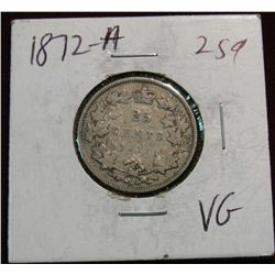 884. 1872H Canada 25-Cents VG.