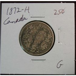 885. 1872H Canada 25-Cents G.