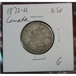 887. 1872H Canada 25-Cents G.