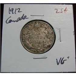 895. 1912 Canada 25-Cents VG+.