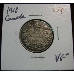 897. 1918 Canada 25-Cents VG+.