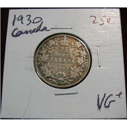 898. 1930 Canada 25-Cents VG+.