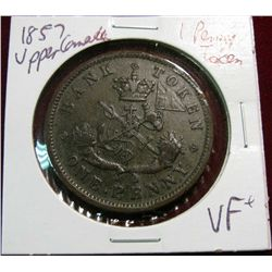 934. 1857 Upper Canada Penny Bank Token VF+.