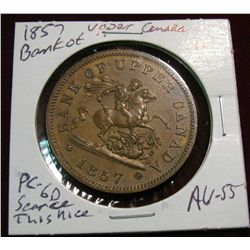 935. 1857 Upper Canada Penny Bank Token AU-55.