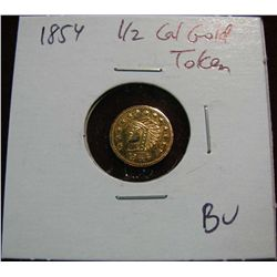 974. 1854 50c Indian Round California Token.