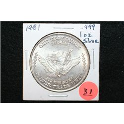 1981 US Assay Office San Francisco; Minted from US Strategic Stockpile Silver, Silver Trade Unit, .9