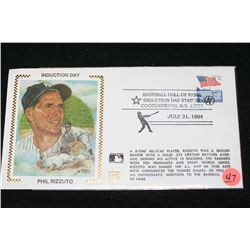 1994 MLB Hall of Fame Induction-Phil Rizzuto Envelope W/Cooperstown NY Postal Stamp from Day of Indu