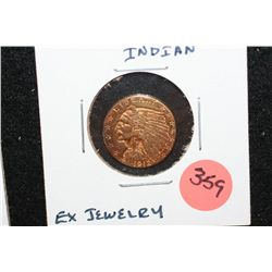 1912 Indian Chief $2 1/2 Gold Coin, Removed from Jewelry