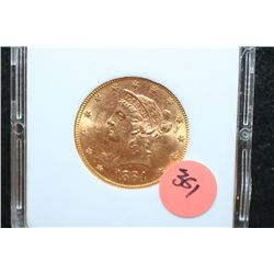 1884-S Liberty $10 Gold Coin, MCPCG Graded MS63