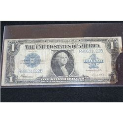 1923 US Silver Certificate $1, Blue Seal, Large Washington Bill, AG3, Large Piece Torn Away @ Rt.