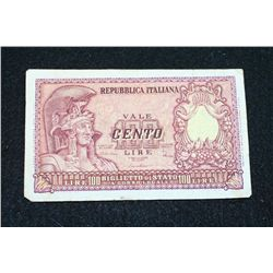 1951 Italy 100 Cento Lire Foreign Bank Note