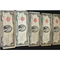 1928-D United States Note $2, Red Seal, Lot of 5