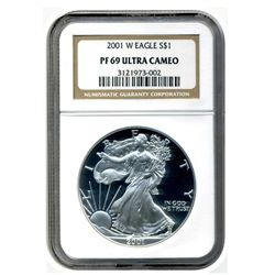 2001-W NGC PR69UCAM American Silver Eagle     Proof Ultra Cameo