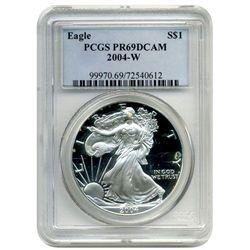 2004-W PCGS  PR-69DCAM  American SIlver Eagle      Proof Deep Cameo