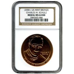 """2000 NGC MS-64 RD Charles Schulz Bronze Medal   """"Peanuts""""  Take a LOOK!"""