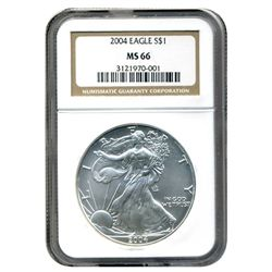 2004 NGC MS-66 American Silver Eagle            NGC LOW BALL REGISTRY COIN
