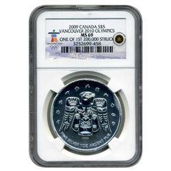 """2009 NGC Canada $5 Vancouver 2010 Olympics MS-69    """"First Struck""""  RARE"""