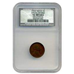 1922 NO  D  NGC  STRONG REVERSE Lincoln Cent  SUPER RARE!   NO  MINTMARK!