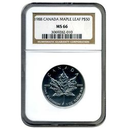 1988 NGC MS66 $50 Canada Platinum Maple      Very Rare First Year Issue Canadian Maple