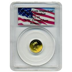 "1999 PCGS Heat Damaged ""Certified"" $5 Gold Canadian Maple  World Trade Center Recovery"
