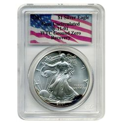 2001 PCGS $1 Silver American Eagle  World Trade Center Recovery  Heat Toned Monster