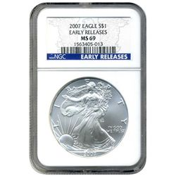 2007 NGC MS-69 American Silver Eagle Early Release