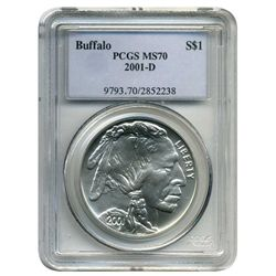 2001 D PCGS MS-70  American Buffalo  (Older PCGS PNG  Holder Original POP 1 Coin)