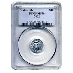 2002  PCGS MS-70 $10 American Platinum Eagle  (Older PCGS PNG  Holder Original POP 2 Coin)