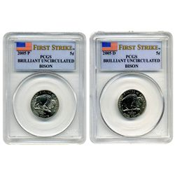 "2005 P & D  PCGS  Buffalo 5c  ""First Strike"" Set   (two coins)   limited edition"