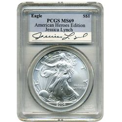2004 PCGS MS-69 American Silver Eagle   Jessica Lynch  American Hero Edition