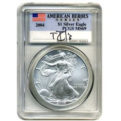 2004 PCGS MS-69 American Silver Eagle General Tommy Franks  American Hero Edition